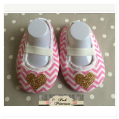 Baby Valentines Day Shoes With Gold Heart, Crib Shoes Pre Walker Shoes 6-9 Month