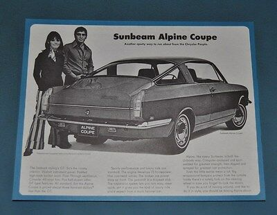 1967 68 69 70Sunbeam by Chrysler Alpine Coupe Sales Brochure NOS Canadian New