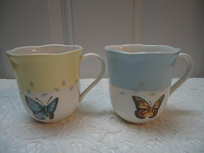 Lenox Butterfly Meadow Set of 2 Mugs 4'' tall  Used