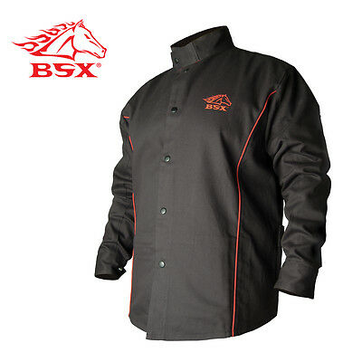 Revco BSX B9C 9oz. Black/Red Cotton Welding Jacket, Flame Resistant  Medium