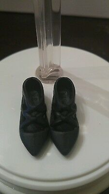 New Black Ballerina Style Flat Dress Shoes For Barbie