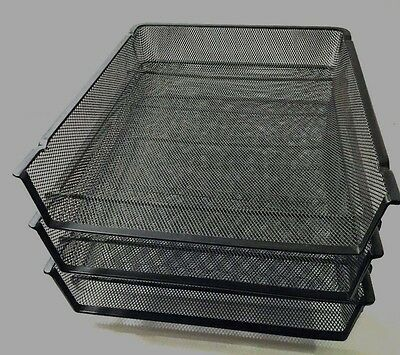 3 Mesh Stacking Front Load Letter Trays