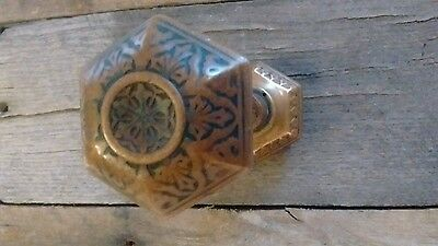 Rare Antique Hexagon Shaped 6 Sided Door Knob Pair Cast Brass Ornate