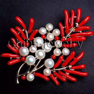 E7417- Beautiful red coral color brooch 4-6mm natural white freshwater pearl -