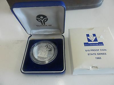 "1985 $10 Silver "" Victoria "" State Series Proof Coin In Box"