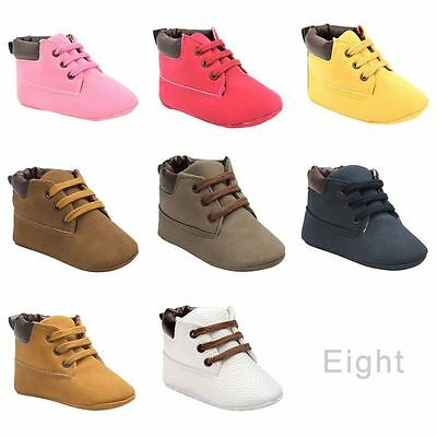 0-18M Baby Toddler Boys Girls Ankle Boots Lace Up Crib Shoes Soft Soled Sneakers