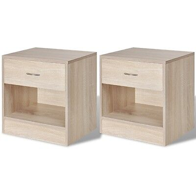 2 Storage Bedside Table Unit Cabinets Cupboard Organiser Night Stand with Drawer