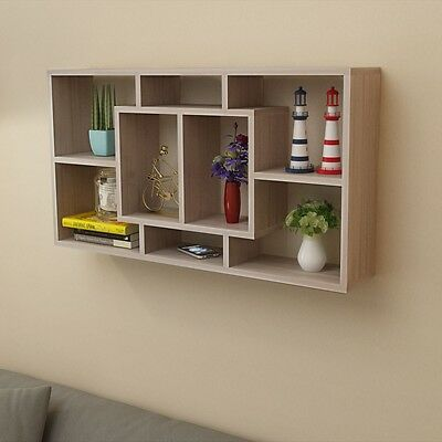 Floating Wall Storage Display Cabinet Unit Cube Shelves 8 Compartment Oak Colour
