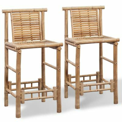 2 Bamboo Bar Stools Chair Seat High Backrest Footrest Patio Kitchen Furniture