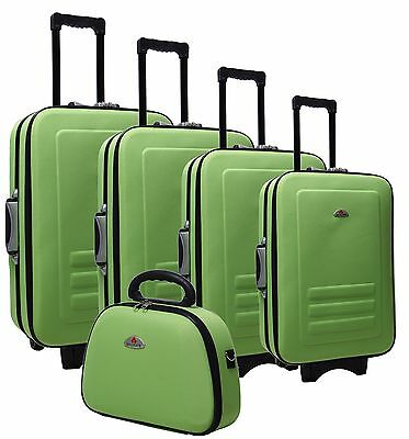 New 5pc Suitcase/Travel Bag Luggage Set in Lime