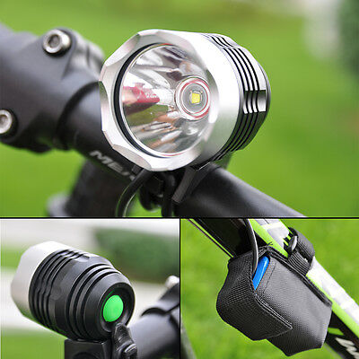 CREE 3000LM XM-L T6 Bicycle Front Bike LED Light Rechargeable 6400mAh Torch Head