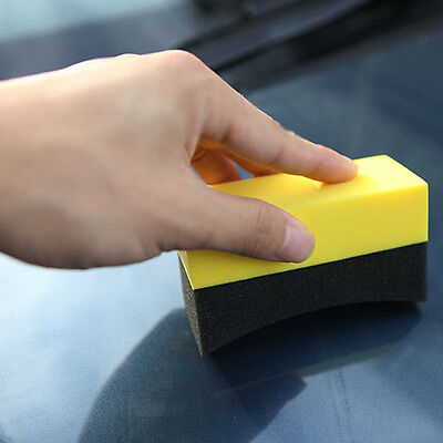 2x Car U-Shape Tire Waxing Polishing Compound Sponge Pad Tyre Polish Clean Brush