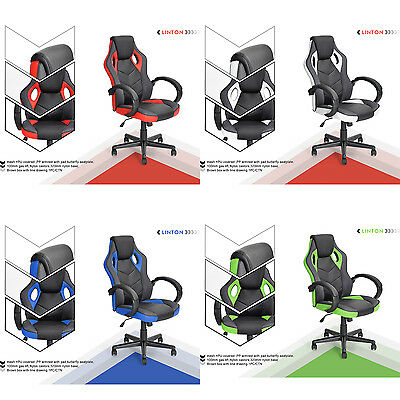 360 Swivel PU Leather Office Racing Gaming Style Computer Desk Chair Tilting