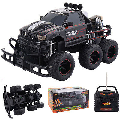 1:10 4CH RC Racing Car 6 Wheels Monster Truck Remote Control Off-Road Black Toys