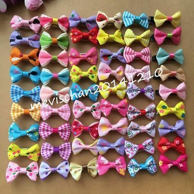 50PCS/lot Dogs mix bow Dog Puppy Hairpins Hair Clip Pet Grooming cat Accessories
