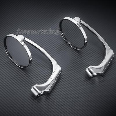 "Motorcycle CNC Rear View 7/8""Handle Bar End Side Mirrors For Honda Yamaha Chrome"