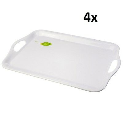 4x Serving Tray Tea Coffee Table Melamine Breakfast in Bed Gift Present 40x25cm