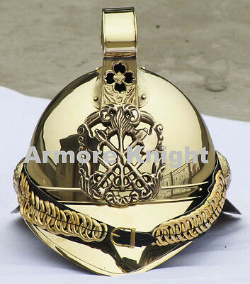 Brass Unique Firefighter Helmet-Fireman Helmet-W/ Leather Cap Free Shipping