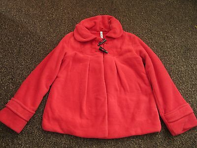 Girls NEXT Coat Age 10 Years Red Soft Fleece Swing Jacket Collar Warm Dress Up