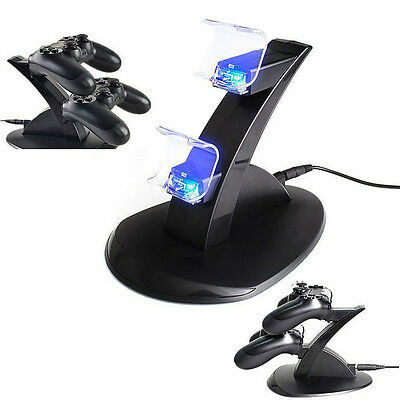 USB Dual Charger Dock Charging Stand Cable For Sony PS4 Controller AUS Stock