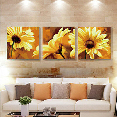 3PCS Sunflower DIY Number Painting Wall Paint TV Background Home Decor