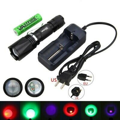Zoomable 2000Lm Red/UV/White XPE LED Flashlight  Fishing Torch Light 18650 Lamp