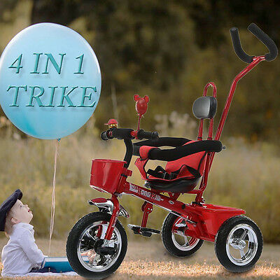 Red Kids Children Smart Trike Baby Tricycle 3 Wheel 4 in 1 Bike with Handle UK