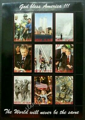 Angola God Bless America 911 Terrorist Attacks 2001 Twin Tower (sheetlet) MNH