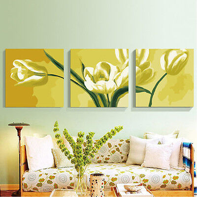 3PCS Yellow Tulip DIY Number Painting Wall Paint TV Background Home Decor Living