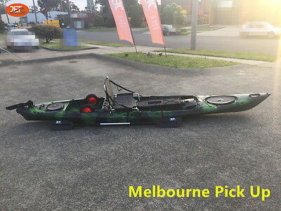 Jetocean Fishing Kayak 430cm Sit On In-built Seat and Trolley with Paddle