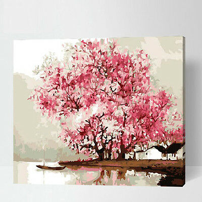 Pink Cherry Blossom Tree DIY Number Painting Wall Paint Living Dinning