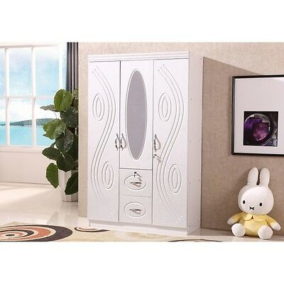 Modern 3 Door White Designed Wardrobe with Two Drawers and an Oval long Mirror