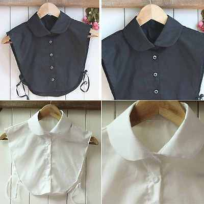 Womens False Fake Collar Vintage Style Blouse Peter Pan Removable Half Shirt NEW