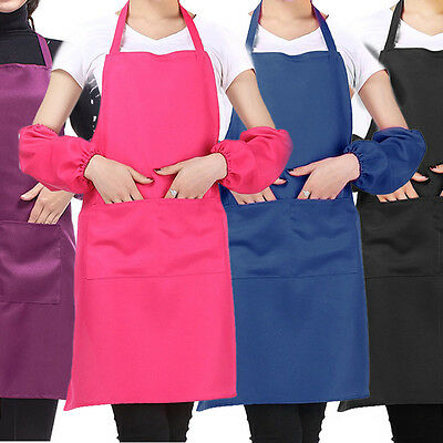 Plain Apron two Front Pocket for Chefs Butchers Kitchen Cooking Craft Baking