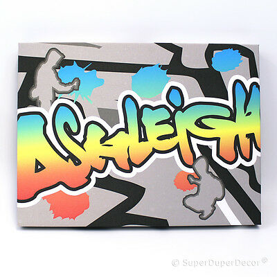 GRAFFITI STYLE WALL CANVAS childrens kids bedroom art with personalised name