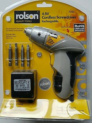 Rolson Rechargeable Cordless Reversible  Electric Screwdriver 4.8v  Kit Set  707