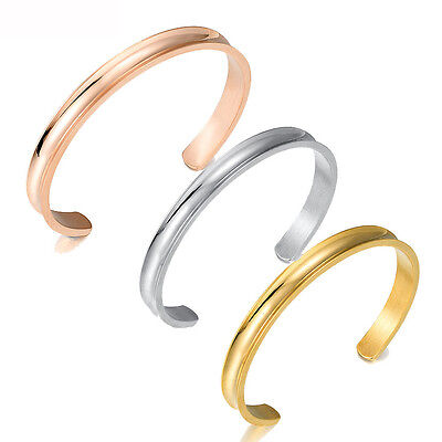 7mm Stainless Steel Hair Tie Holder Bracelet Cuff Bangle Wristband Rose Gold