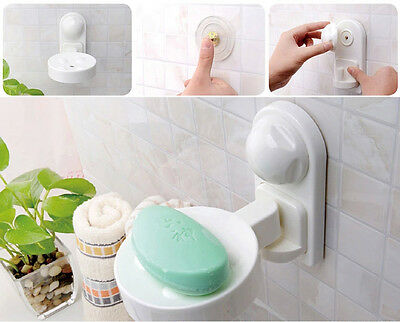 Wall Mount Revolving Soap Holder Plastic No Tool Required, White Colour Suction