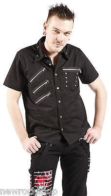 New Dead Threads Shirt 3 Zip Studs Men Metal Punk Emo Rock