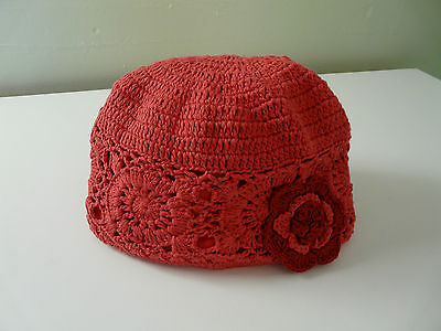 Bnwt Monsoon Girls Pink Red Cotton Floral Crochet Hat Size 3-6 6-12 Years