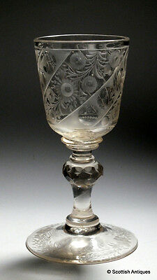 Bohemian Cut and Engraved Wine Goblet c1730