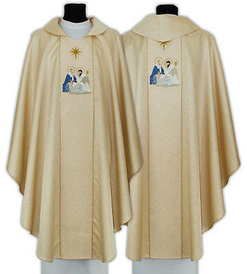 Gold Gothic Chasuble for Christmas with matching stole 664-G54 us