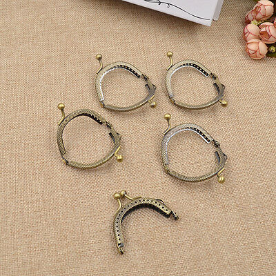 5 Pcs Metal Frame Kiss Clasp Lock Handle Arch For DIY Purse Bag Bronze Crafts