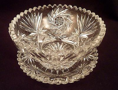 American Brilliant Period Condiment, Mustard Cut Crystal Bowl with Underplate