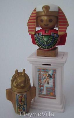 Playmobil Egyptian/City museum extras: Plinth, statue & canopic jar NEW