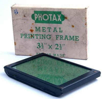 "Vintage Photax Metal Contact Printing Frame for 3.5""x2.5"" Negatives - Boxed"