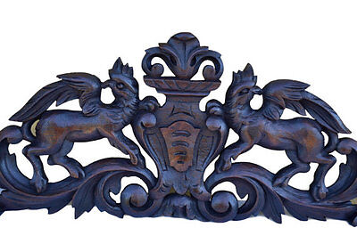 French Antique Wood Architectural Salvage Pediment - Griffin Chimera