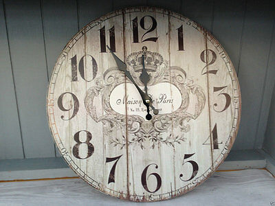 Vintage Wall Clock Wooden French Style Shabby Chic MAISON DE PARIS New Gift Home