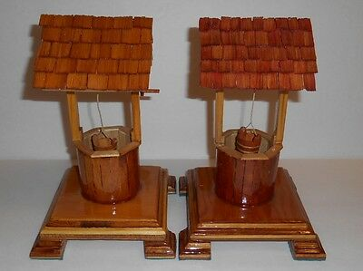 "Lot Of 2 Handmade Wooden Decorative Wishing Wells 9.5"" x 5.5"""