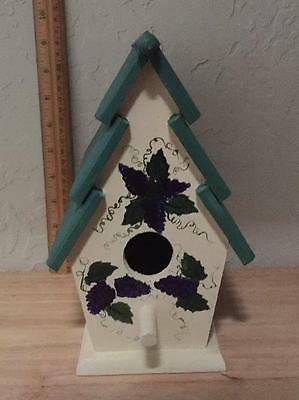 #2 Birdhouse Wood Grapes Indoor Decorative Wall Shelf Hand Painted Shabby Chic